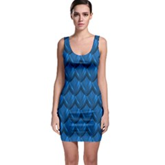 Blue Dragon Snakeskin Skin Snake Wave Chefron Sleeveless Bodycon Dress by Mariart