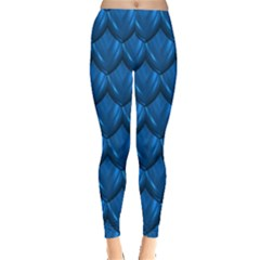 Blue Dragon Snakeskin Skin Snake Wave Chefron Leggings  by Mariart