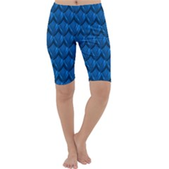 Blue Dragon Snakeskin Skin Snake Wave Chefron Cropped Leggings  by Mariart