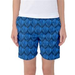 Blue Dragon Snakeskin Skin Snake Wave Chefron Women s Basketball Shorts by Mariart