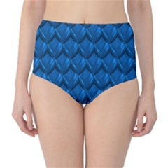 Blue Dragon Snakeskin Skin Snake Wave Chefron High Waist Bikini Bottoms by Mariart