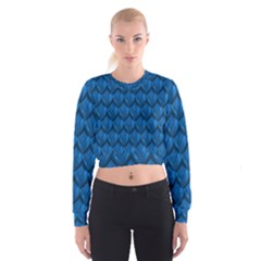 Blue Dragon Snakeskin Skin Snake Wave Chefron Cropped Sweatshirt by Mariart