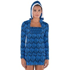 Blue Dragon Snakeskin Skin Snake Wave Chefron Women s Long Sleeve Hooded T Shirt by Mariart