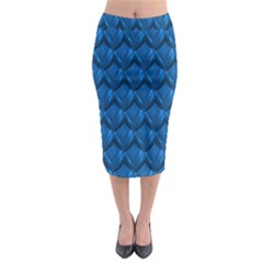 Blue Dragon Snakeskin Skin Snake Wave Chefron Midi Pencil Skirt by Mariart