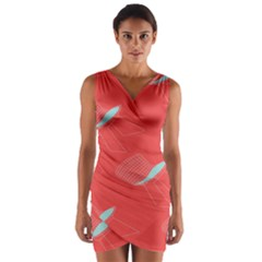 Chairs Wicker Cafe Party Comfortable Red Blue Wrap Front Bodycon Dress by Mariart