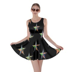 Colorful Gold Star Christmas Skater Dress