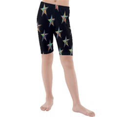 Colorful Gold Star Christmas Kids  Mid Length Swim Shorts by Mariart
