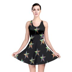 Colorful Gold Star Christmas Reversible Skater Dress by Mariart