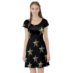 Colorful Gold Star Christmas Short Sleeve Skater Dress by Mariart