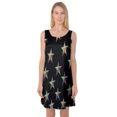 Colorful Gold Star Christmas Sleeveless Satin Nightdress by Mariart