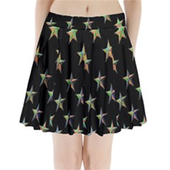 Colorful Gold Star Christmas Pleated Mini Skirt by Mariart