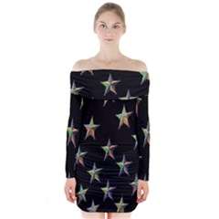 Colorful Gold Star Christmas Long Sleeve Off Shoulder Dress by Mariart