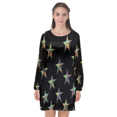 Colorful Gold Star Christmas Long Sleeve Chiffon Shift Dress