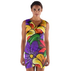 Bright Flowers Floral Sunflower Purple Orange Greeb Red Star Wrap Front Bodycon Dress by Mariart