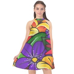 Bright Flowers Floral Sunflower Purple Orange Greeb Red Star Halter Neckline Chiffon Dress