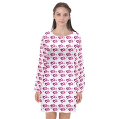 Heart Love Pink Purple Long Sleeve Chiffon Shift Dress  by Mariart