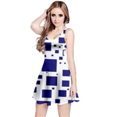 Illustrated Blue Squares Reversible Sleeveless Dress by Mariart