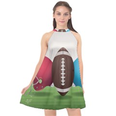 Helmet Ball Football America Sport Red Brown Blue Green Halter Neckline Chiffon Dress