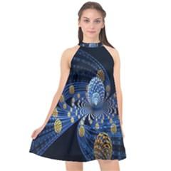 Fractal Balls Flying Ultra Space Circle Round Line Light Blue Sky Gold Halter Neckline Chiffon Dress  by Mariart