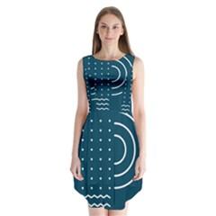 Parachute Water Blue Waves Circle White Sleeveless Chiffon Dress   by Mariart
