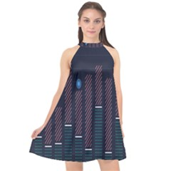 Plaid Line Circle Polka Green Red Blue Halter Neckline Chiffon Dress