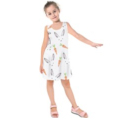 Rabbit Carrot Pattern Weft Step Face Kids  Sleeveless Dress by Mariart