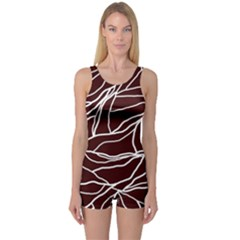 River System Line Brown White Wave Chevron One Piece Boyleg Swimsuit by Mariart