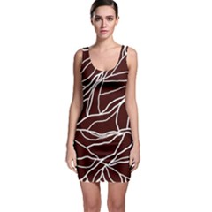 River System Line Brown White Wave Chevron Sleeveless Bodycon Dress by Mariart