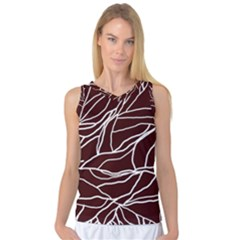 River System Line Brown White Wave Chevron Women s Basketball Tank Top by Mariart