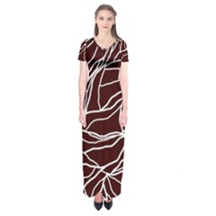 River System Line Brown White Wave Chevron Short Sleeve Maxi Dress by Mariart