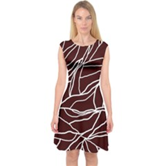 River System Line Brown White Wave Chevron Capsleeve Midi Dress by Mariart