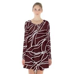 River System Line Brown White Wave Chevron Long Sleeve Velvet V Neck Dress by Mariart