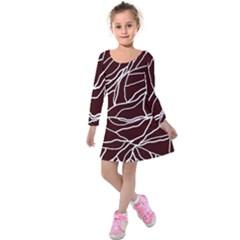 River System Line Brown White Wave Chevron Kids  Long Sleeve Velvet Dress by Mariart
