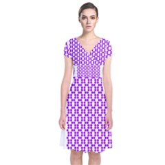 River Hyacinth Polka Circle Round Purple White Short Sleeve Front Wrap Dress by Mariart