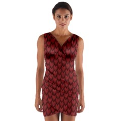 Red Snakeskin Snak Skin Animals Wrap Front Bodycon Dress by Mariart