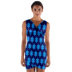 Star Blue Space Wave Chevron Sky Wrap Front Bodycon Dress by Mariart