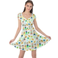 Kids Football Players Playing Sports Star Cap Sleeve Dresses