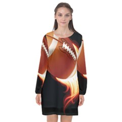 Super Football American Sport Fire Long Sleeve Chiffon Shift Dress