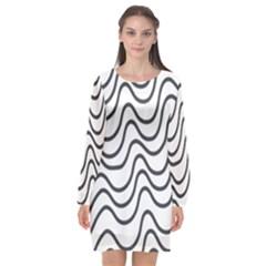 Wave Waves Chefron Line Grey White Long Sleeve Chiffon Shift Dress