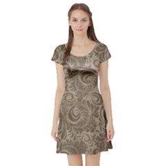 Brown Romantic Flower Pattern Short Sleeve Skater Dress by Ivana
