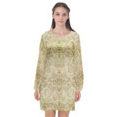 Gold Romantic Flower Pattern Long Sleeve Chiffon Shift Dress  by Ivana