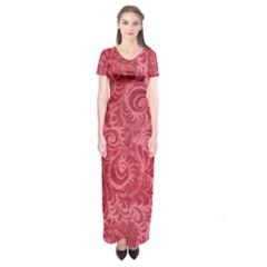 Red Romantic Flower Pattern Short Sleeve Maxi Dress by Ivana