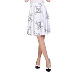 Skull Pattern A Line Skirt by ValentinaDesign