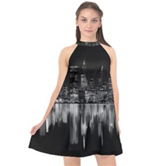 City Panorama Halter Neckline Chiffon Dress  by Valentinaart