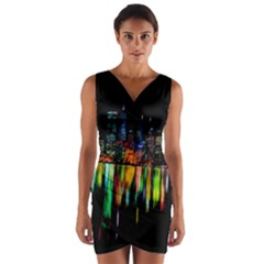 City Panorama Wrap Front Bodycon Dress by Valentinaart