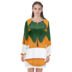St Patricks Day Ireland Clover Long Sleeve Chiffon Shift Dress  by Nexatart