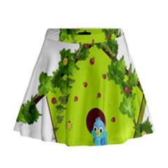 Bluebird Bird Birdhouse Avian Mini Flare Skirt by Nexatart