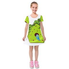 Bluebird Bird Birdhouse Avian Kids  Short Sleeve Velvet Dress by Nexatart