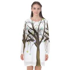 Tree Fantasy Magic Hearts Flowers Long Sleeve Chiffon Shift Dress  by Nexatart