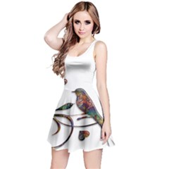 Birds Abstract Exotic Colorful Reversible Sleeveless Dress